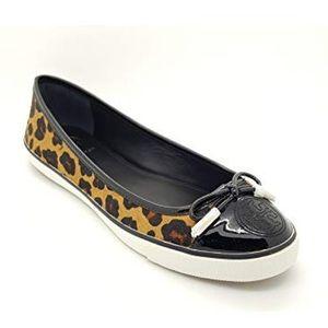 NEW Tory Burch Skylar Hair Calf Leopard Sneakers